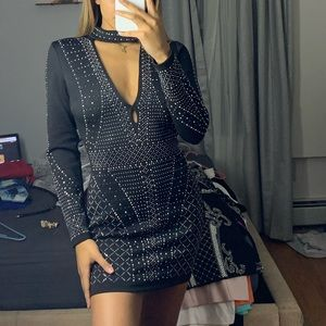 black detailed mini dress